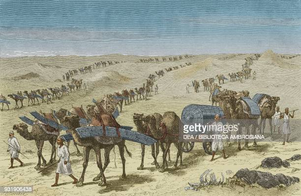 Transporting iron ship pieces using camels in the Nubian desert from Ismailia A narrative of the expedition to Central Africa for the suppression of...