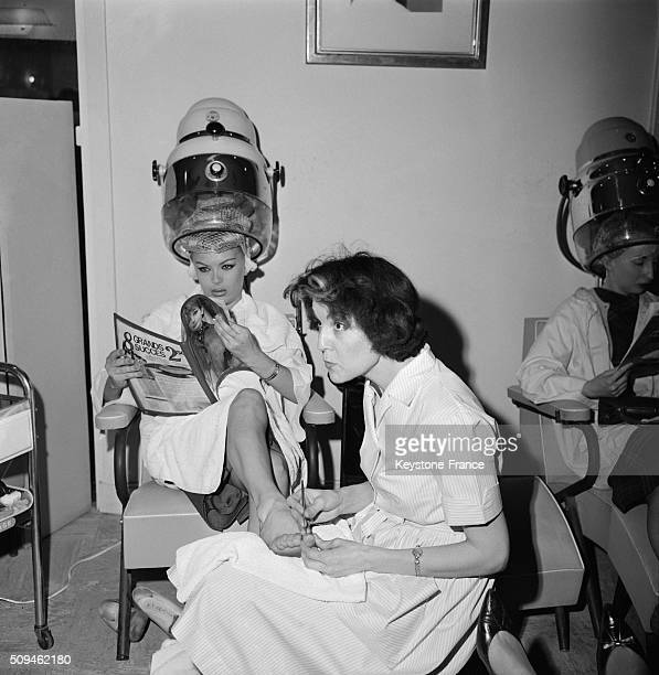 Transsexual Coccinelle With a Chiropodist At the Hairdresser The Day Of Her Wedding With Journalist Francis Bonnet in Paris France on March 13 1962