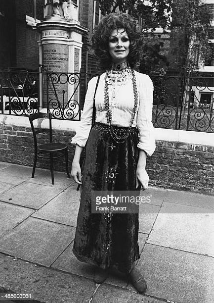 Transsexual model April Ashley attending the wedding of Arabella Churchill at the Essex Unitarian Church Kensington 10th August 1972