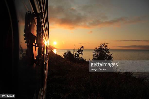 Trans-siberian express at sunrise