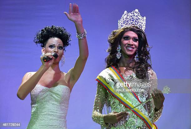 A transvestite known as Maria Cristina Richard representing San Andres is crown in the Sixth Miss Colombia Gay 20142015 pageant in Medellin Antioquia...
