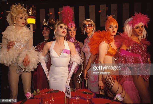 Transvestite waitresses at the Love Ball a fundraiser for AIDS research