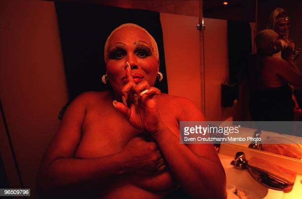 Transvestites prior to the show at the Twist Bar in Miami Beach on September 25 in Miami USA Gregory Hemingway son of fame American writer and Nobel...