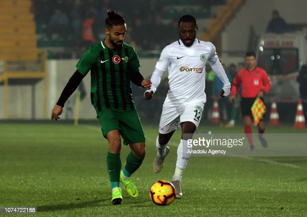 Traore of Atiker Konyaspor in action against Barbosa of Akhisarspor during the Turkish Super Lig football match between Akhisarspor and Atiker...