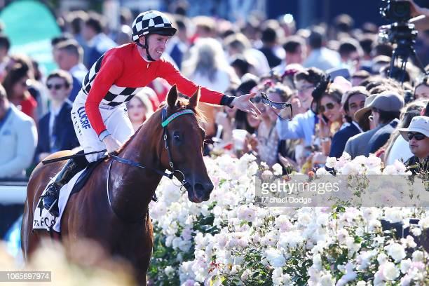 Trap for Fools ridden by John Allen returns to scale after winning race 8 the Seppelt Mackinnon Stakes during Stakes Day at Flemington Racecourse on...