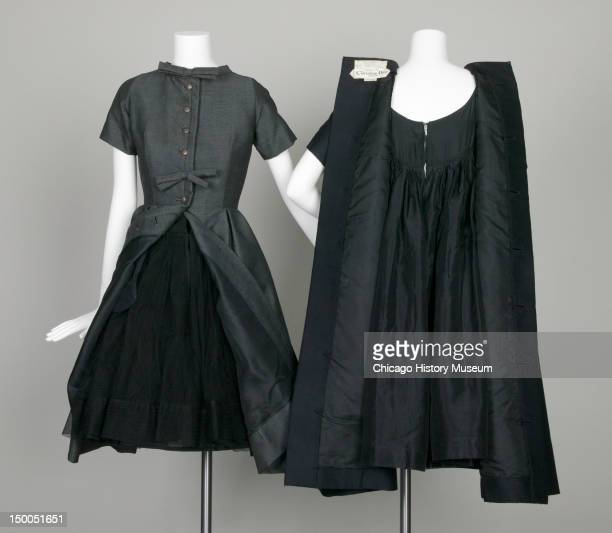 Trapeze afternoon dresses 1958 Mohair wool tweed by Yves Saint Laurent for Christian Dior