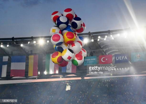 Trapeze Artist performs in the opening ceremony prior to the UEFA Euro 2020 Championship Group A match between Turkey and Italy at the Stadio...