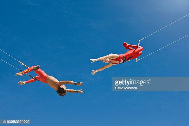 trapeze artists swinging towards one another, low angle view - trapeze artist stock photos and pictures