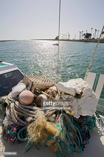 Trash and assorted garbage collected form the North Pacific Gyre The ORV Alguita returns to Long beach after four months at sea sampling the waters...