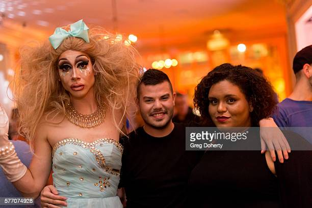"""Trash and guests pose for a picture at the 2016 Outfest Los Angeles Closing Night Gala Of """"Other People"""" After Party at The Theatre at Ace Hotel on..."""