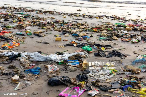 trash and plastics at the beach - beach pollution - plastic pollution stock pictures, royalty-free photos & images