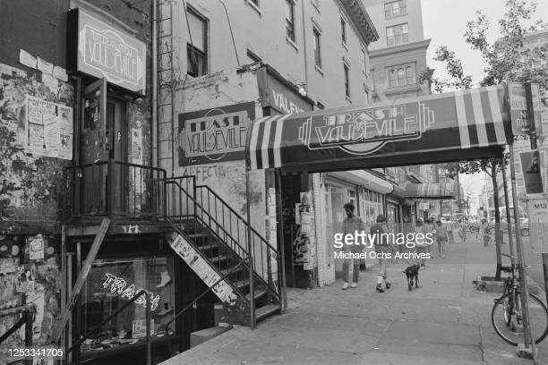 Trash And Vaudeville, a counter culture clothing store in the Hamilton-Holly House on St Mark's Place, Manhattan, New York City, circa 1982.