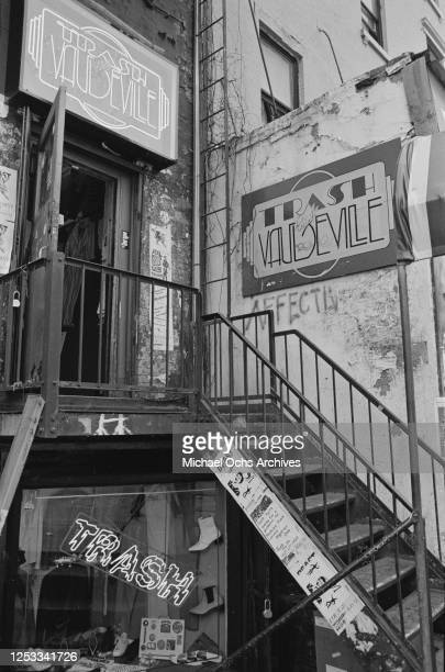 Trash And Vaudeville, a counter culture clothing store in the Hamilton-Holly House on St Mark's Place, Manhattan, New York City, circa 1982. A flier...