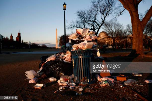 Trash begins to accumulate along the National Mall due to a partial shutdown of the federal government on December 24 2018 in Washington DC The...