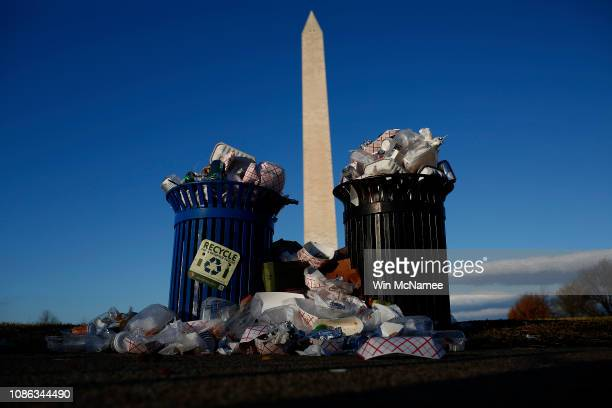 Trash begins to accumulate along the National Mall near the Washington Monument due to a partial shutdown of the federal government on December 24...