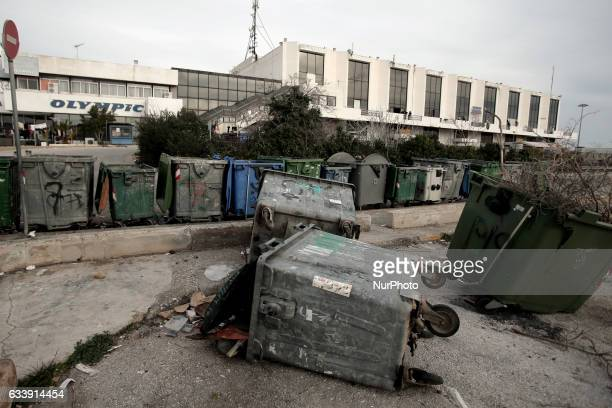 Trash bins at the refugee camp of the former international Helliniko airport south of Athens Greece on February 5 2017 Protesting the living...