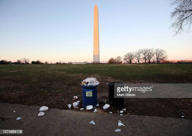 Trash builds up along the National Mall as trash collectors are off work during a partial shutdown of the federal government on December 23 2018 in...
