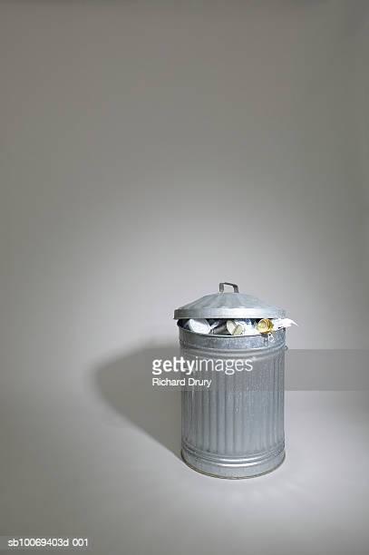 trash can, studio shot - richard drury stock pictures, royalty-free photos & images