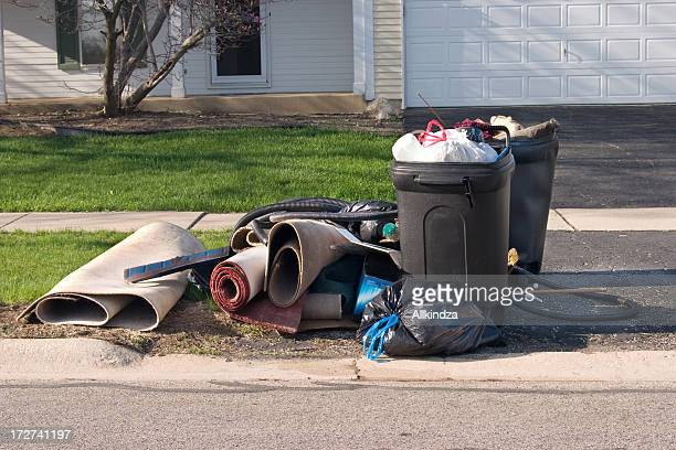 trash day three - garbage can stock photos and pictures