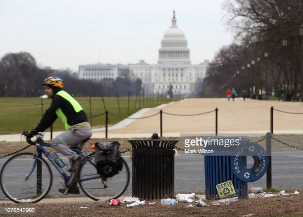 Trash lays on the grounds of the National Mall as the partial shutdown of the U.S. Government goes into the 12th day, on January 2, 2019 in...