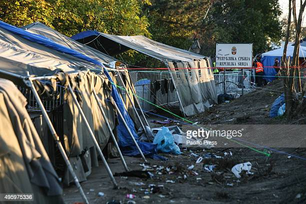 Trash lines a covered corridor leading to the SerbianCroatian border The United Nations says 210000 asylum seekers transited through the Balkans in...