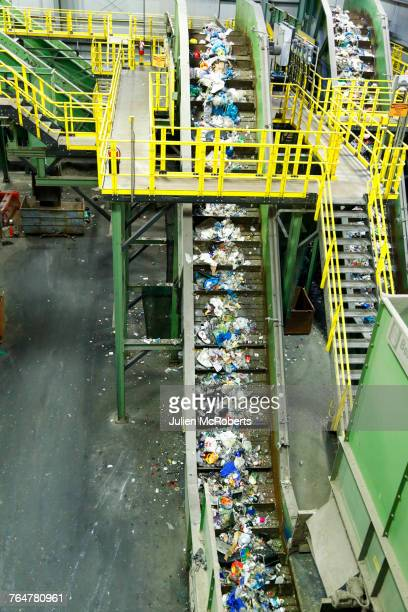 Trash on conveyor belt at factory