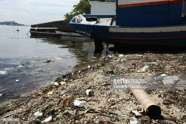 Trash on the shores of Guanabara Bay state of Rio de Janeiro Brazil on February 25 2008 Some 465 metric tons of waste either domestic trash sewage...