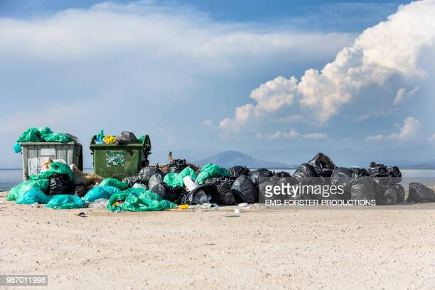 trash problems on the island of corfu. - plastic pollution stock pictures, royalty-free photos & images