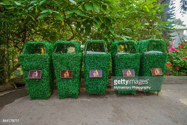 Trash recycling container ecology concept