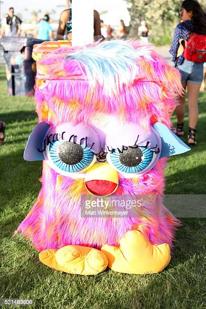 TRASHed Art of Recycling artist bin seen during day 1 of the 2016 Coachella Valley Music Arts Festival Weekend 1 at the Empire Polo Club on April 15...
