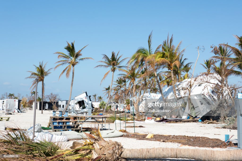 Trashed trailer park in Big Pine Key after a hurricane : Stock Photo