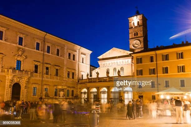 Trastevere square at night