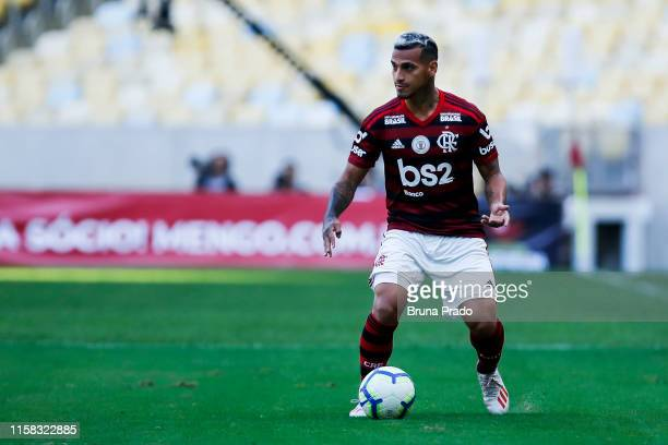 Trauco of Flamengo runs for the ball during a match between Flamengo and Botafogo as part of Brasileirao Series A 2019 at Maracana Stadium on July 28...