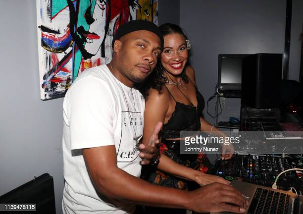 Trauma and DJ Ria spin at the NFL Draft Viewing Party Hosted By Wale, Le'Veon Bell and Derrick Jones at Pomona on April 25, 2019 in New York City.