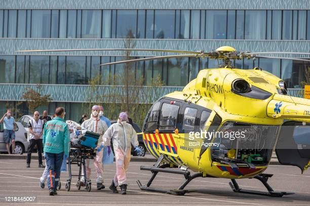 A trauma helicopter transporting a COVID19 patient from HagaZiekenhuis hospital to another hospital is seen amid the coronavirus outbreak on April 12...