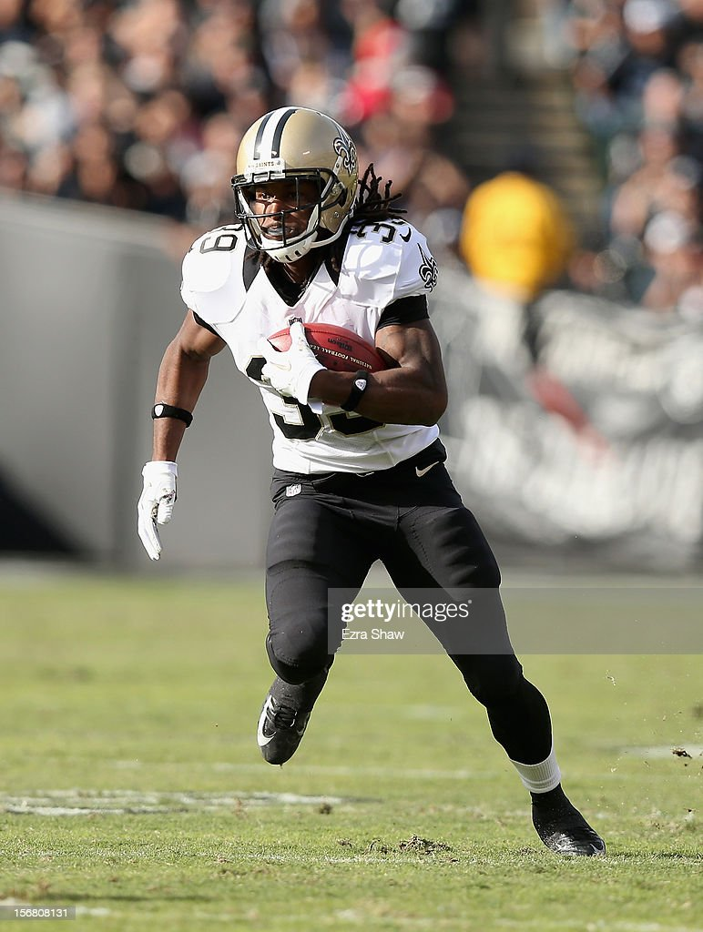 Travaris Cadet #39 of the New Orleans Saints in action against the Oakland Raiders at O.co Coliseum on November 18, 2012 in Oakland, California.