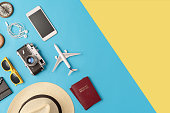 Travel accessories flat lay with copy space