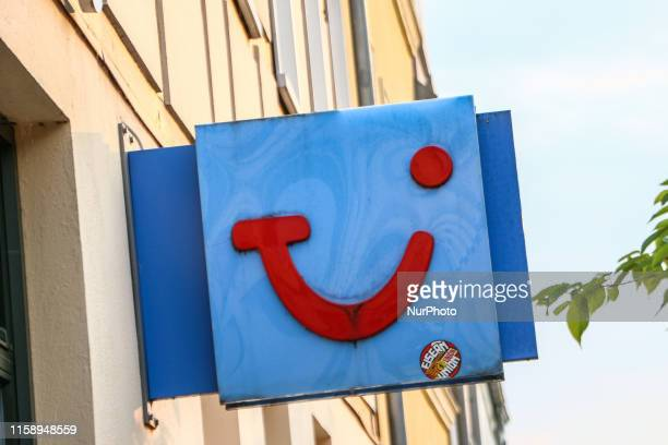 Travel agency logo is seen in Kyritz, Brandenburg, Germany on 1 August 2019