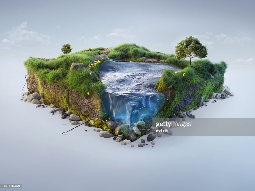 Travel and vacation background. 3d illustration with cut of the ground and the grass landscape with the cut of the pond. Baby nature isolated on white. : Stock Photo