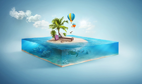 Travel and vacation background. 3d illustration with cut of the sea and beautiful island. Baby island isolated on white. 972077642