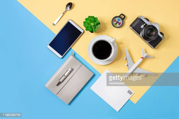 travel aspiration concept still life. - knolling concept stock pictures, royalty-free photos & images