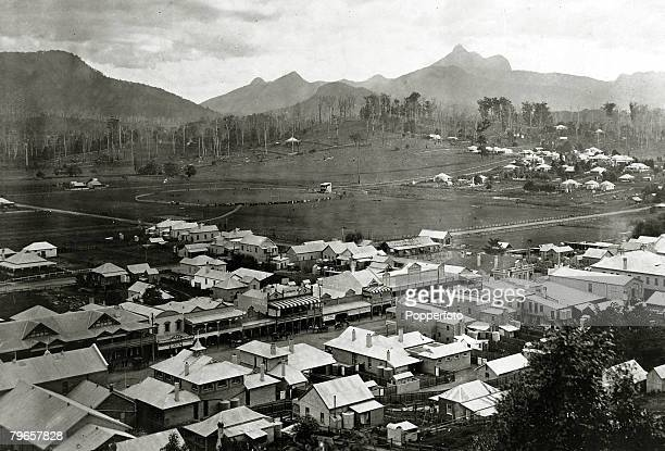 circa 1890 A view of Murwillumbah New South Wales with Mount Warning in the Great Dividing Range shown in the background