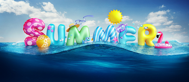 Travel backgrounds. Summer 3d rendered banner with 3D text and colorful balls, fishes, flamingo and the sun in blue sky and sea background for summer season holiday. 1143217929
