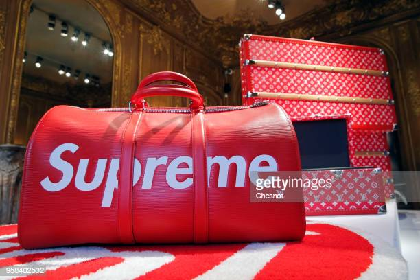 A travel bag entitled Keepall by Louis Vuitton x Supreme is displayed during the exhibition The Rise of Supreme / 30 years of American urban culture...