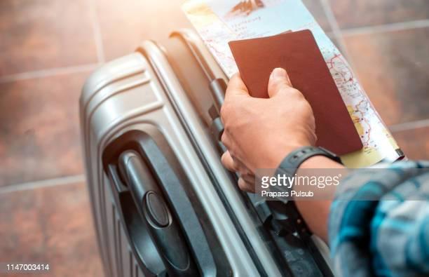travel bags and passport flight travel traveller - bagage bildbanksfoton och bilder