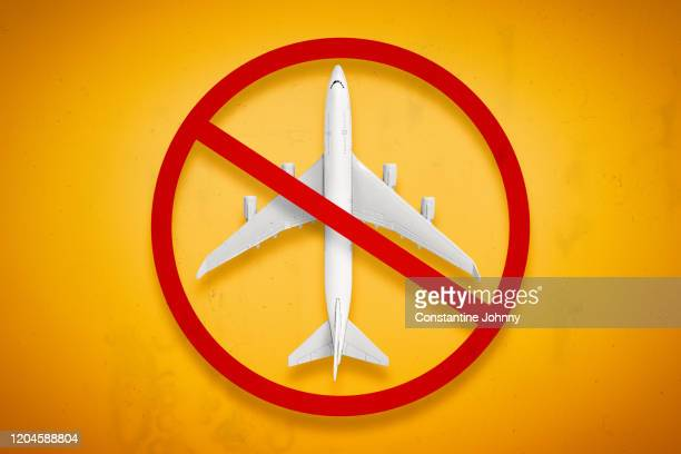 travel ban. forbidden airplane and flight ban concept. - travel ban stock pictures, royalty-free photos & images