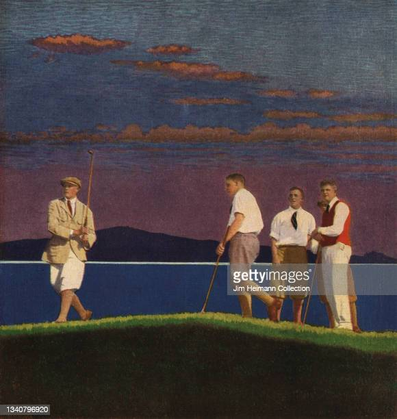 Travel brochure features an illustration of five men in sporting attire standing on a golf course next to the ocean with a beautiful sunset and...