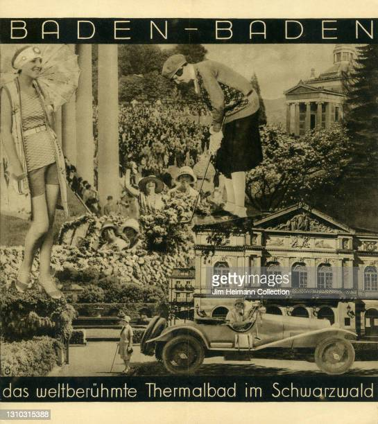 """Travel brochure for Baden-Baden and its """"world famous thermal baths"""" features a black and white photo montage of attractions to be found in the Black..."""