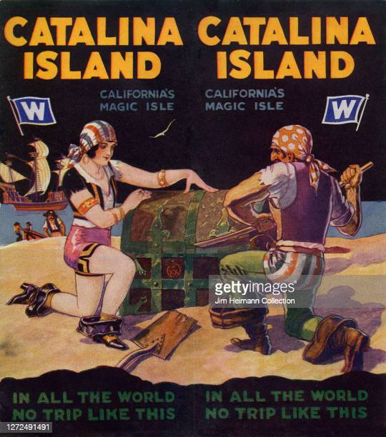 Travel brochure for Catalina Island shows an illustration of pirates prying open a treasure chest on the beach, circa 1929.