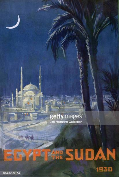 Travel brochure for Egypt And The Sudan features an illustration of a city at night with tall, white buildings illuminated by the moonlight, 1930.